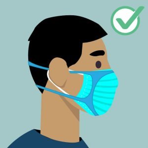 Illustration of a man wearing a mask with a mask brace or mask fitter on top of his mask with a gren check in the right top corner