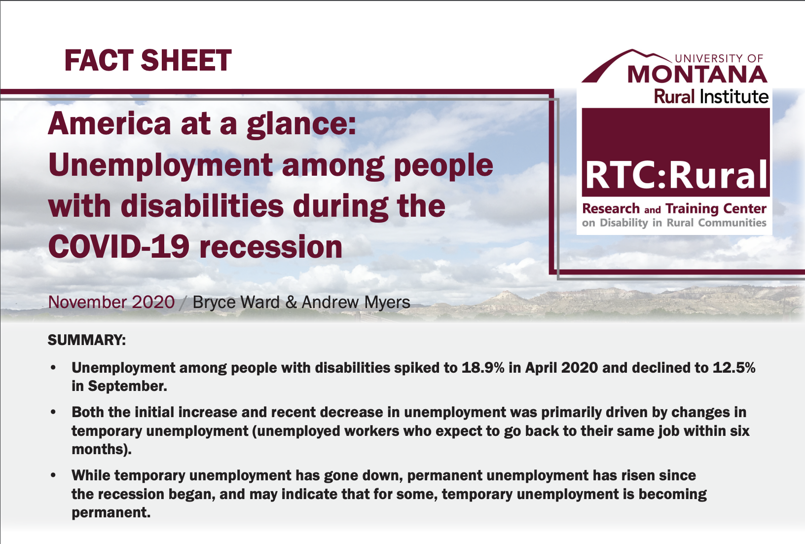 FACT SHEET America at a glance: Unemployment among people with disabilities during the COVID-19 recession