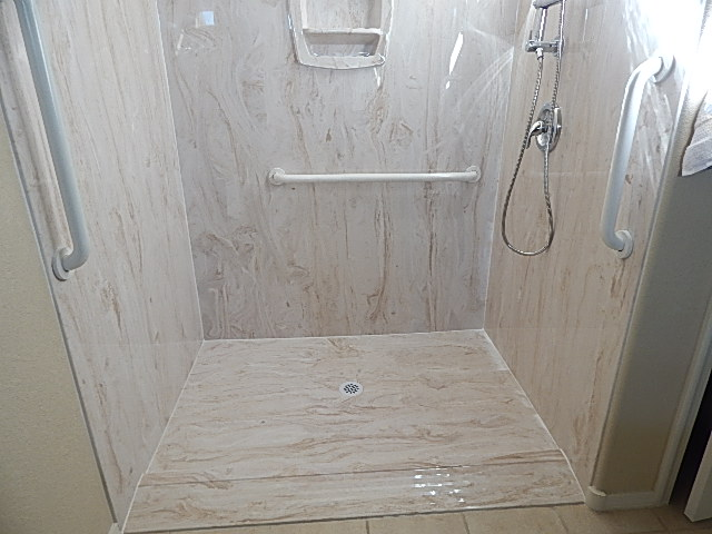closeup of consumer's bathroom after home modification